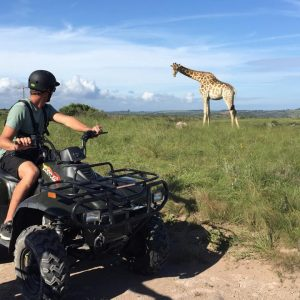 Vet students enjoy quad biking during their free time after a long week of veterinary experience in South Africa