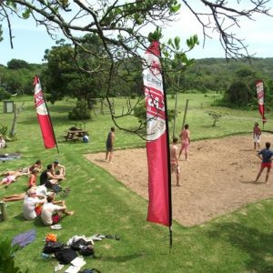 Vet students enjoy playing volleyball during their free time after a long week of veterinary experience in South Africa