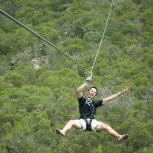 Vet students enjoy ziplining during their free time after a long week of veterinary experience in South Africa